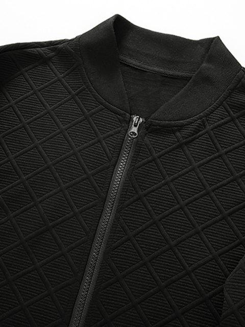 chic Zipper Pocket Grid Jacquard Zip Up Jacket - BLACK XXL Mobile