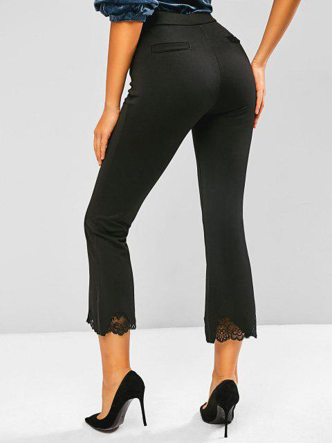 women Lace Hem Slant Pocket Flare Pants - BLACK S Mobile