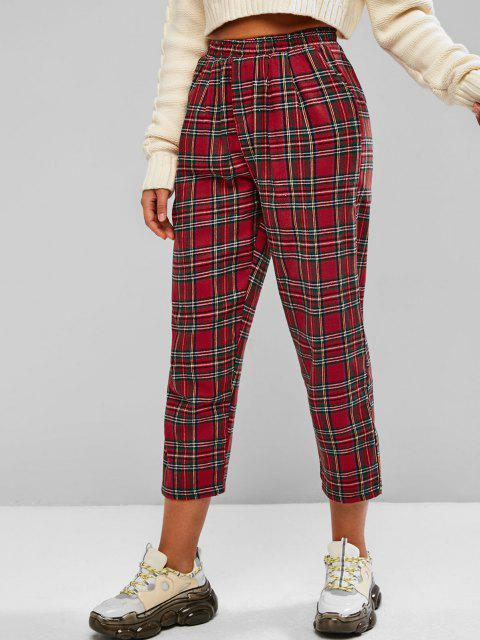fashion Checked Plaid Pocket Pull On Pants - RED L Mobile