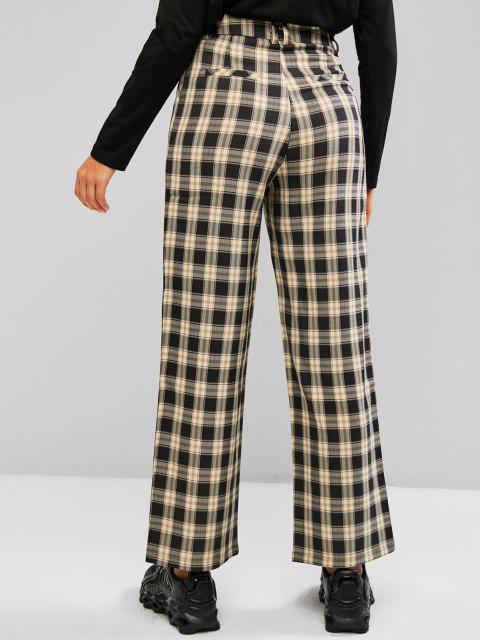 online Plaid Slant Pocket Straight Loose Pants - LIGHT YELLOW M Mobile