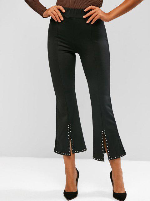 unique Studded Slit Hem Pull On Flare Pants - BLACK M Mobile