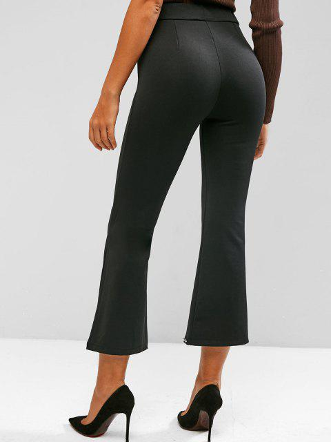 unique Studded Slit Hem Pull On Flare Pants - BLACK M Mobile