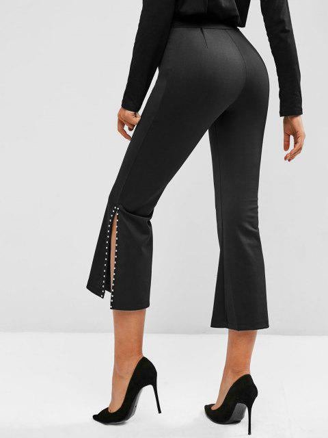 hot Studded Slit Pull On Flare Pants - BLACK L Mobile