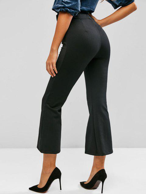 best Lace Panel Seam Detail Slit Flare Pants - BLACK L Mobile