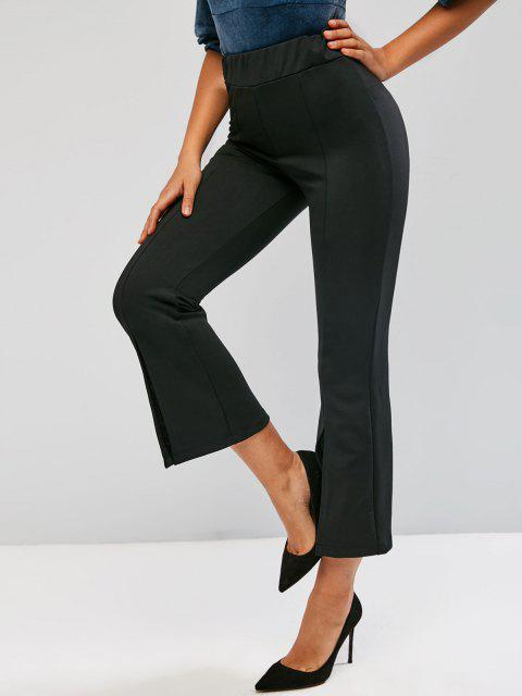 fashion Lace Panel Seam Detail Slit Flare Pants - BLACK XL Mobile