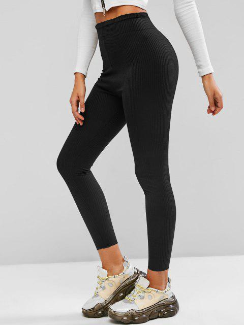 buy Wide Waistband Rib-knit Leggings - BLACK M Mobile