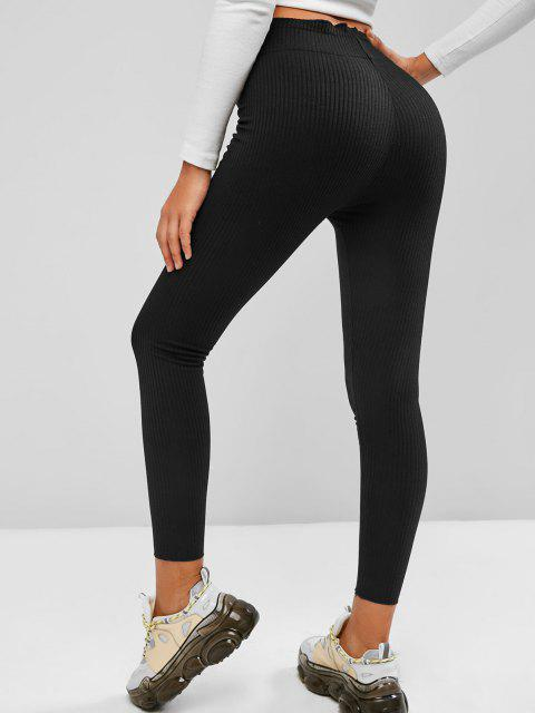 best Wide Waistband Rib-knit Leggings - BLACK L Mobile