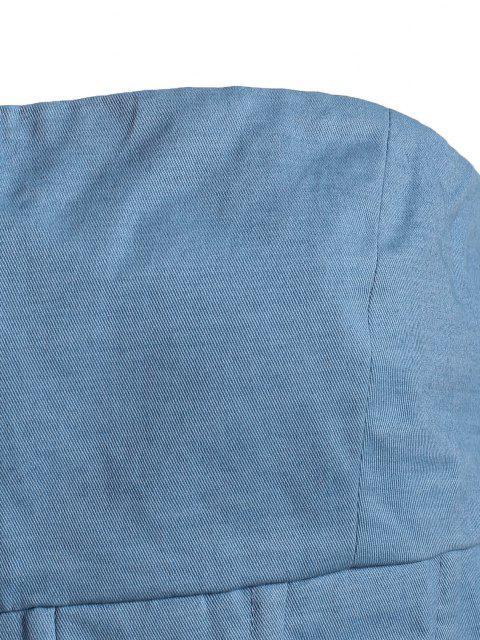 Débardeur Corset sans Bretelle avec Zip Au Dos - Bleu L Mobile
