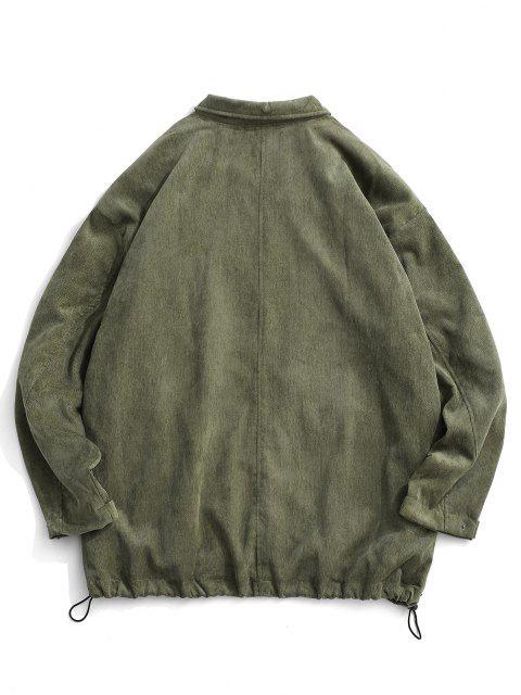 Veste Zippée en Velours Côtelé avec Double Poches - Vert clair M Mobile