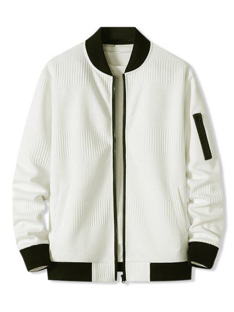 Veste Zippée Côtelée avec Poche - Blanc XXXL Mobile