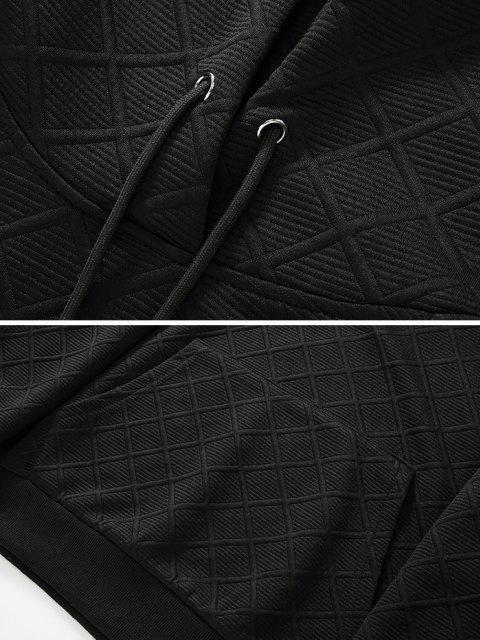 VorderTasche Gitter Muster Raglan Ärmel Hoodie - Schwarz XL Mobile