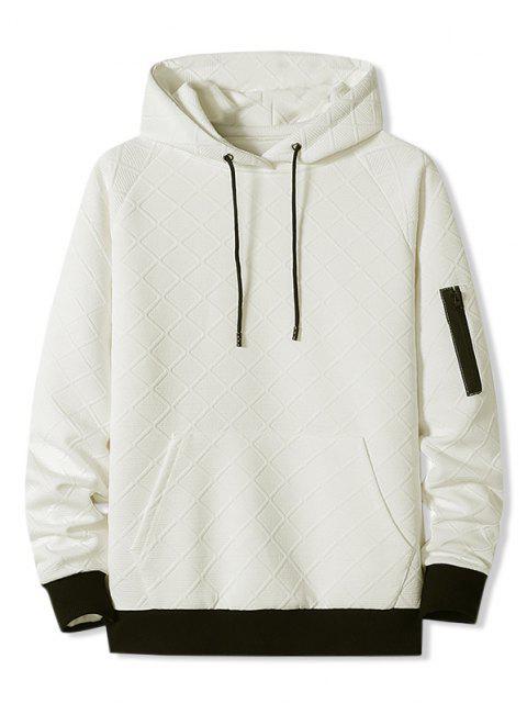 fashion Front Pocket Grid Pattern Raglan Sleeve Hoodie - WHITE XL Mobile