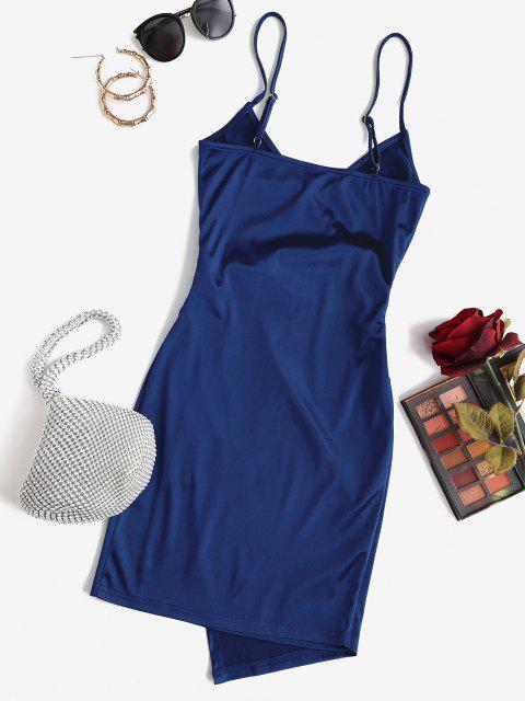 online ZAFUL Draped Shiny Surplice Dress - DEEP BLUE M Mobile