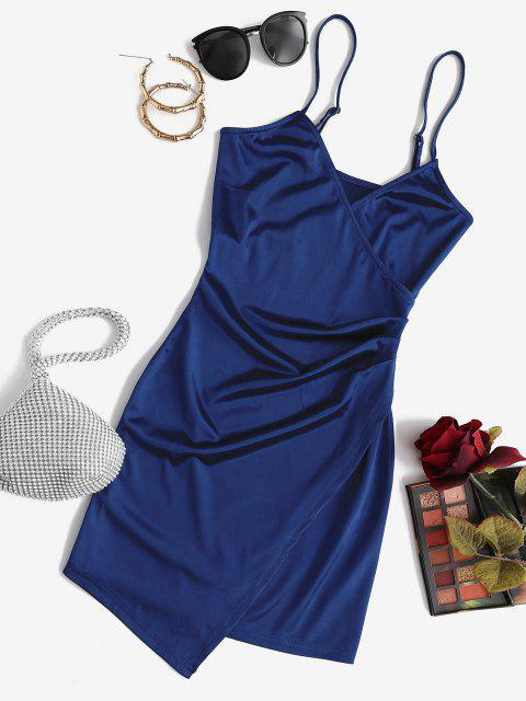 latest ZAFUL Draped Shiny Surplice Dress - DEEP BLUE S Mobile