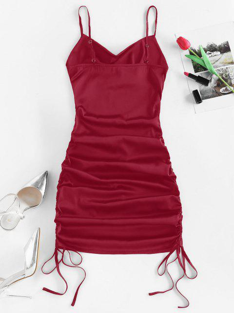 fashion ZAFUL Satin Cinched Cowl Front Mini Dress - RED WINE XL Mobile