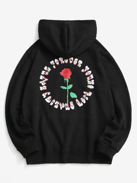 Rose Letter Fleece Lined Hoodie - أسود L Mobile