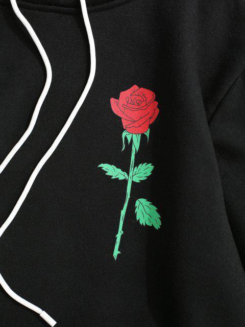 latest Rose Letter Fleece Lined Hoodie - BLACK L Mobile