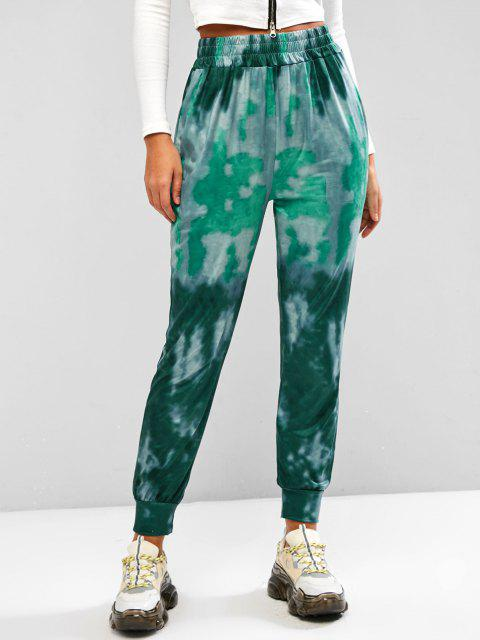 fashion Tie Dye Pocket Beam Feet Pull On Pants - GREEN M Mobile