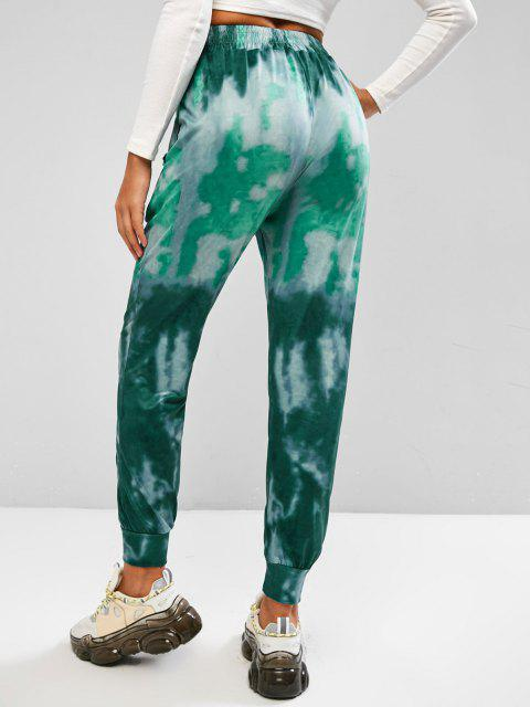 hot Tie Dye Pocket Beam Feet Pull On Pants - GREEN L Mobile