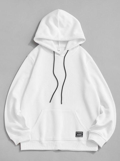 Hoodie mit Schafwolle und Buchstabe Druck - Weiß S Mobile