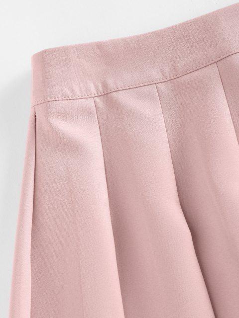 chic ZAFUL High Waist Pleated Mini Skirt - PINK M Mobile
