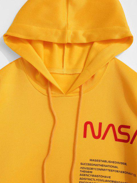 ladies ZAFUL American Flag Patched Drawstring Pocket Hoodie - YELLOW M Mobile