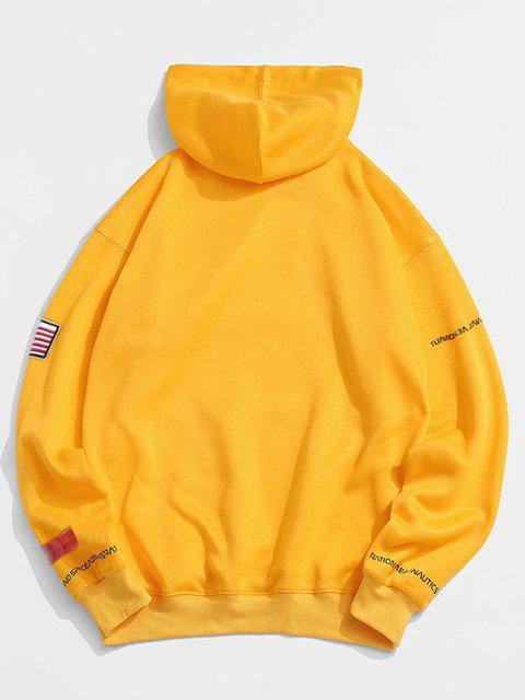 new ZAFUL American Flag Patched Drawstring Pocket Hoodie - YELLOW 3XL Mobile