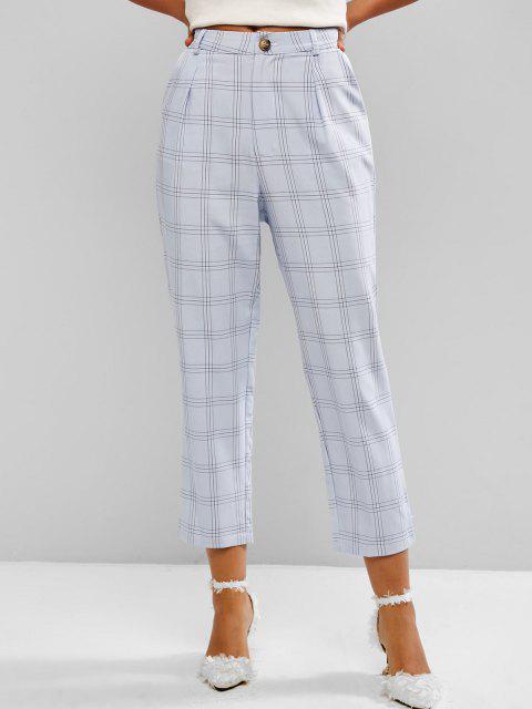 sale Windowpane Check High Waist Tapered Pants - LIGHT BLUE M Mobile
