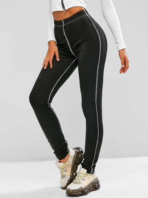 women's Topstitching High Rise Leggings - BLACK S Mobile