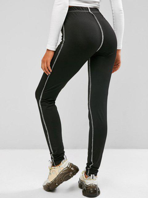 shops Topstitching High Rise Leggings - BLACK L Mobile