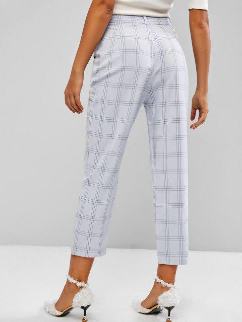 women Windowpane Check High Waist Tapered Pants - LIGHT BLUE S Mobile