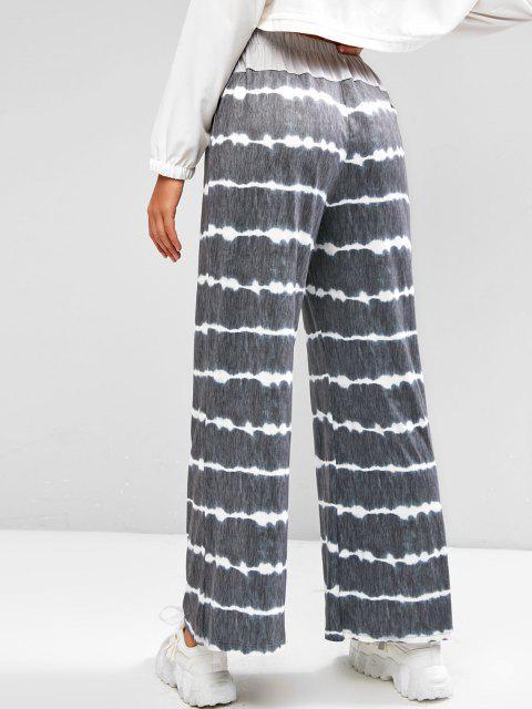 affordable Dip Dye Drawstring Wide Leg Loose Pants - DARK GRAY S Mobile