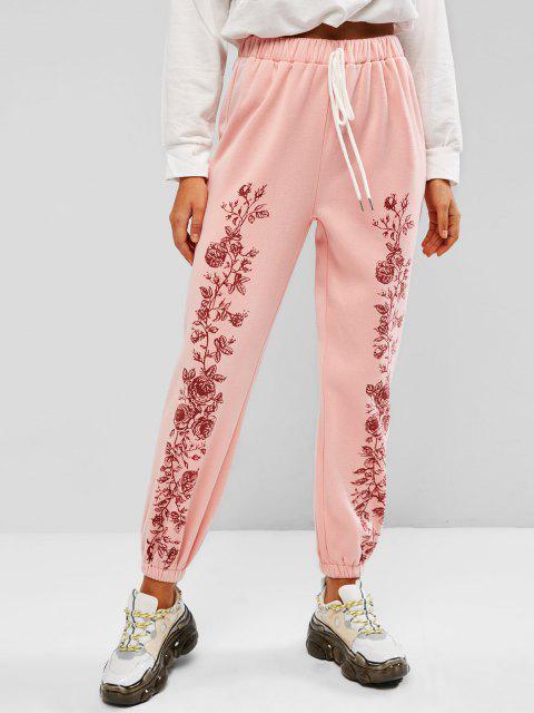 women ZAFUL Fleece Lined Flower Tie Pull On Sweatpants - LIGHT PINK S Mobile
