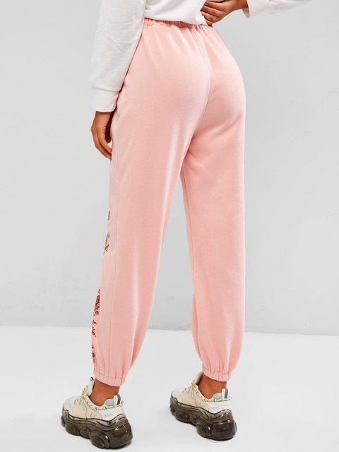 latest ZAFUL Fleece Lined Flower Tie Pull On Sweatpants - LIGHT PINK M Mobile