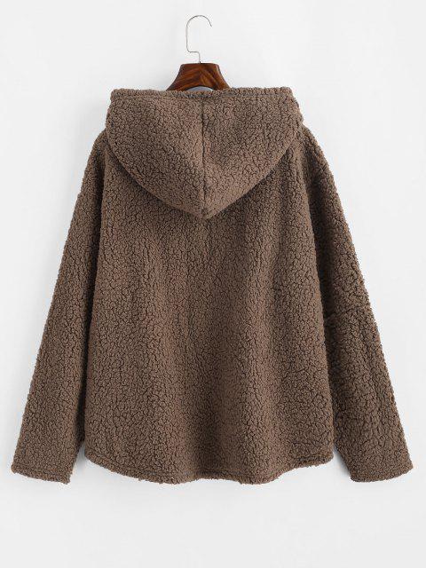 shops ZAFUL Faux Shearling Curved Hem Pocket Teddy Hoodie - COFFEE S Mobile