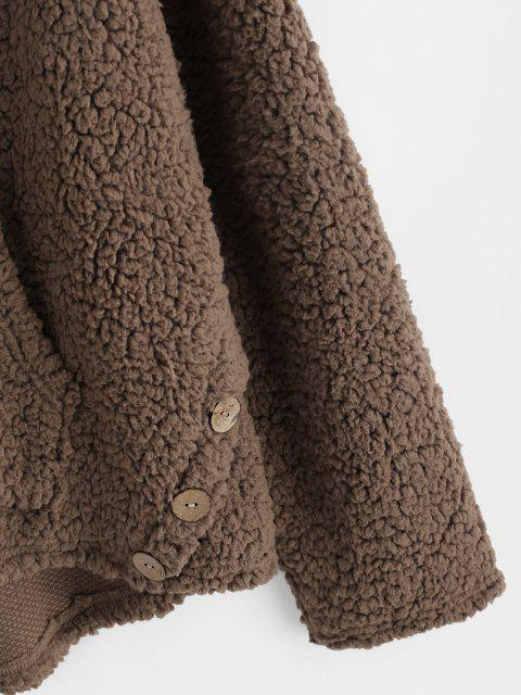 shops ZAFUL Faux Shearling Curved Hem Pocket Teddy Hoodie - COFFEE S Mobile