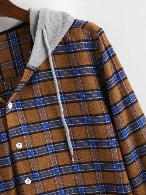 unique Colorblock Hooded Plaid Shirt - COFFEE M Mobile