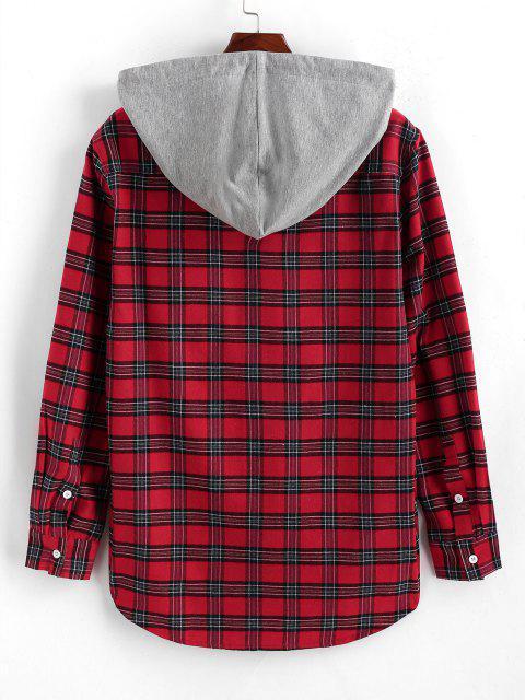 Camicia a Quadretti a Blocchi di Colore con Cappuccio - Rosso L Mobile