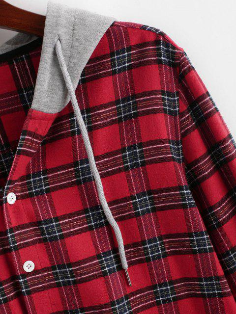 outfit Colorblock Hooded Plaid Shirt - RED M Mobile