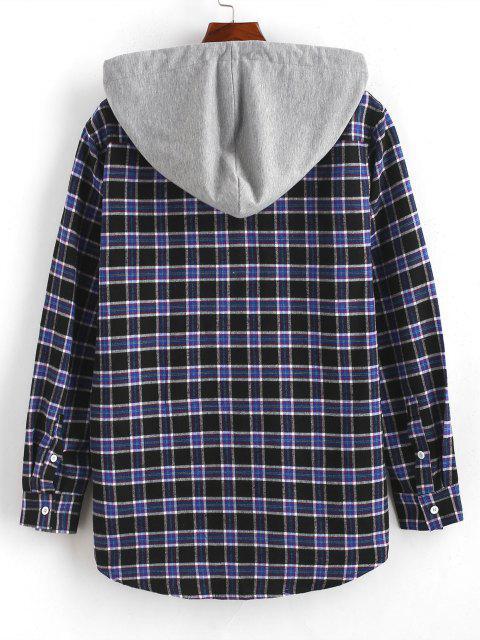 Camisa a Cuadros con Capucha de Color Bloque - Azul Profundo S Mobile