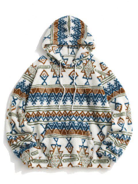 lady Teddy Tribal Geometric Pattern Hoodie - WHITE M Mobile