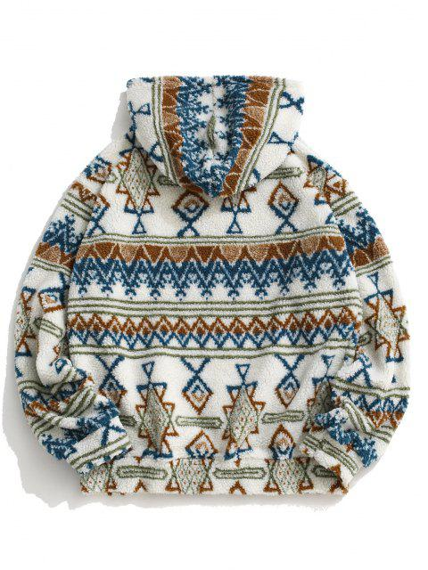 online Teddy Tribal Geometric Pattern Hoodie - WHITE S Mobile