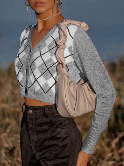 Buton Argyle V Neck Crop Cardigan - Gri deschis O marime Mobile