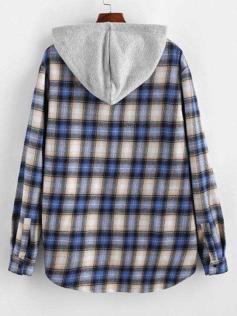 new Plaid Fluffy Lined Colorblock Hooded Shirt Jacket - BLUE L Mobile
