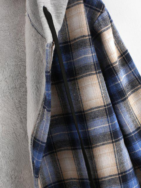 chic Plaid Fluffy Lined Colorblock Hooded Shirt Jacket - BLUE M Mobile