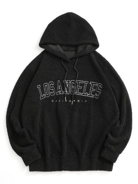 affordable Los Angeles Embroidery Teddy Hoodie - BLACK 2XL Mobile