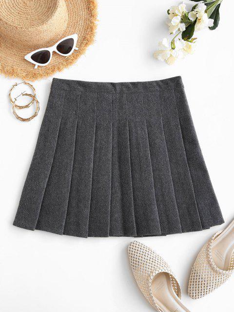 shop Knife Pleated A Line Mini Skirt - LIGHT GRAY L Mobile