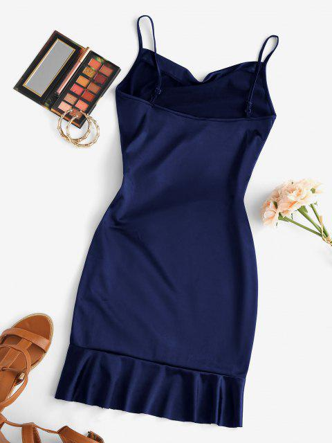 lady Satin Cowl Front Cinched Ruffle Hem Dress - CADETBLUE S Mobile
