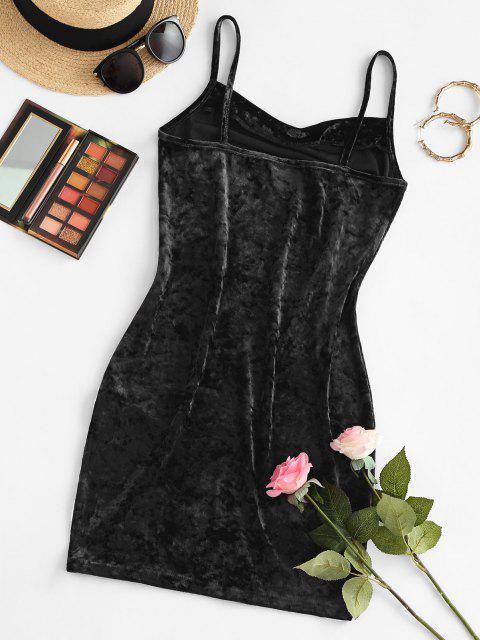 ZAFUL Vestido Mini de Terciopelo con Frente - Negro L Mobile