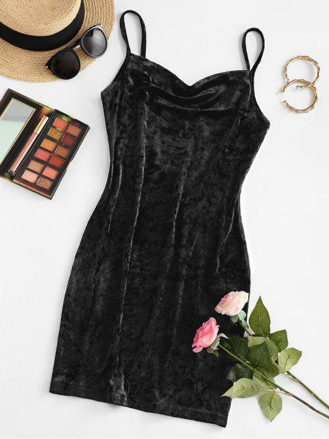 unique ZAFUL Cowl Front Velvet Mini Dress - BLACK L Mobile